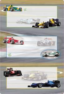 Bilde av VARIO boketiketter Racebiler med glitter, 2 ark