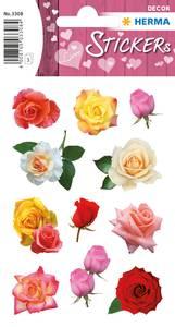 Bilde av DECOR Stickers Roseblomster, papir, 3 ark (10