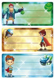 Bilde av VARIO boketiketter Superhelter, 3 ark (10 pakk)